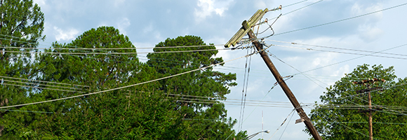 telephone pole falling