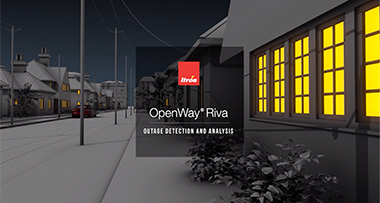 OpenWay Riva text over house with lights on