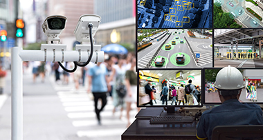 Person viewing street camera footage in real-time